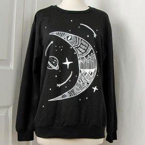 Black Lightweight Graphic Moon, Stars, Saturn L